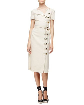 Short-Sleeve Button-Front Sheath Dress, Straw