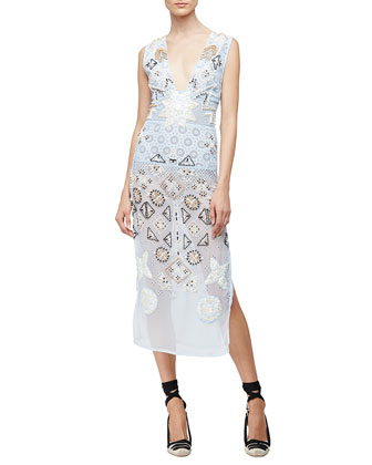 Embellished-Chiffon Eyelet Dress, Pale Blue