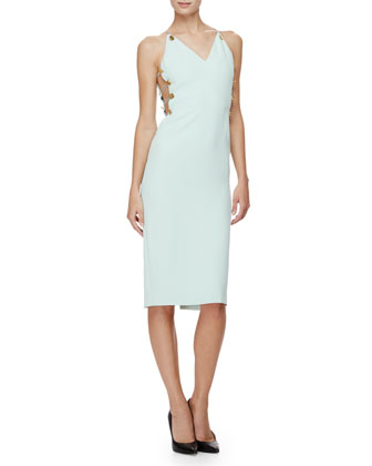 Sleeveless Button-Side Sheath Dress, Mint