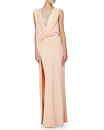 Sleeveless Grecian Column Gown, Peach