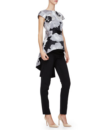 Cap-Sleeve Floral-Print Top, Silver