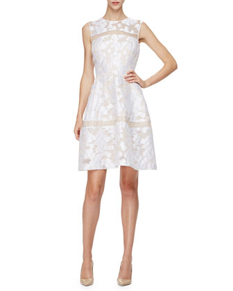 Sleeveless Sheer-Inset Mini Dress, Ivory