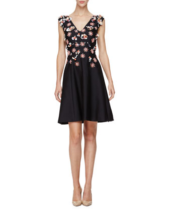 Sleeveless Embellished Mini Dress, Black/Multi