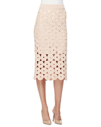Half-Sleeve Crochet Top, Blush