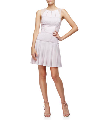 Sleeveless Pleated Sheath Dress, Lilac
