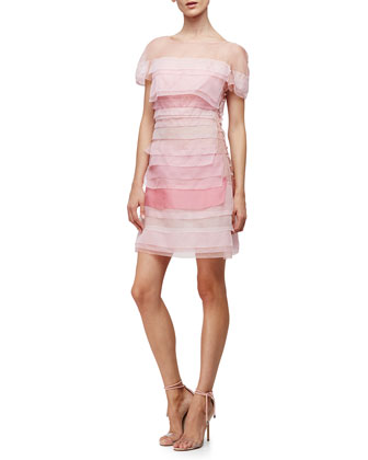 Short-Sleeve Layered Mini Dress, Primrose