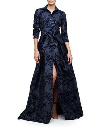 Floral-Embellished Trenchcoat Gown, Navy Slate