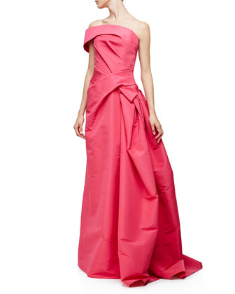One-Shoulder Pleated Gown, Hot Pink