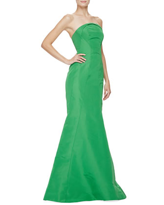 Strapless Fold-Neck Mermaid Gown, Green