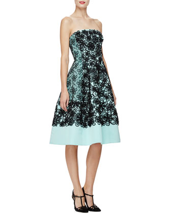 Strapless Floral Fit-&-Flare Dress, Seafoam/Black