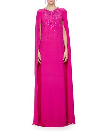 Embellished Caftan Gown W/Cape Back, Magenta