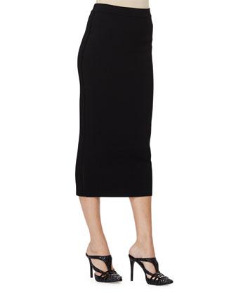 Mid-Rise Midi Pencil Skirt, Black