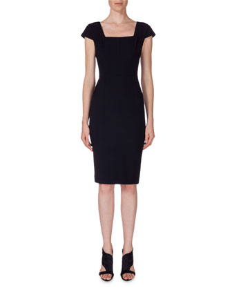 Square-Neck Cap-Sleeve Sheath Dress, Navy