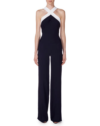 Sleeveless Two-Tone Wide-Leg Jumpsuit, Navy/White