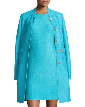 Windy Knit Topper Jacket w/ Waist Tabs, Aqua