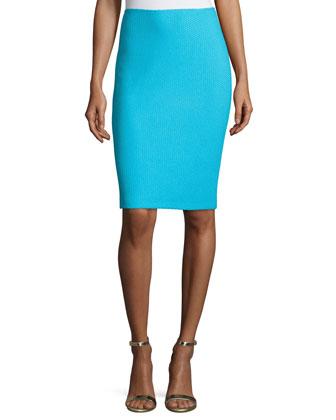 Textural Twill Pencil Skirt, Aqua