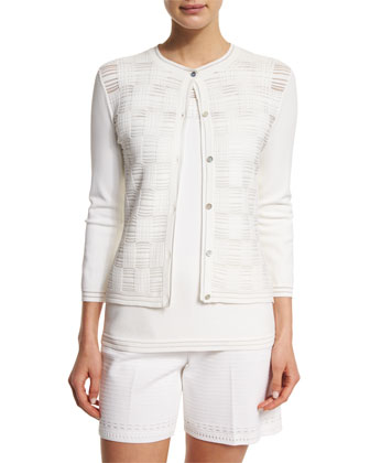 Transparent Grid 3/4-Sleeve Cardigan, Bianco
