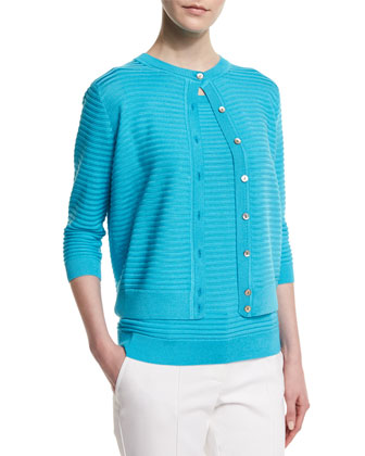 Purl Stripe Knit 3/4-Sleeve Cardigan, Aqua