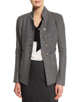 Manto Contrast-Trim Knit Jacket, Caviar/Alabaster