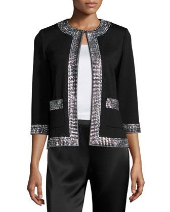 Sequined-Trim 3/4-Sleeve Jacket, Caviar/Crystal