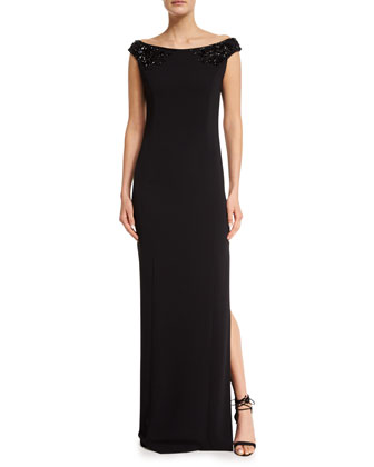 Classic Cady Beaded Boat-Neck Gown, Caviar
