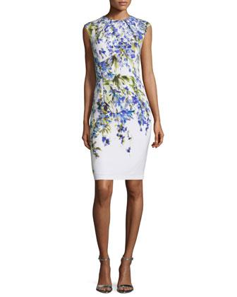 Budding Floral-Print Sheath Dress, Bianco/Multi