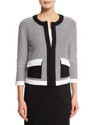 Hooked Cord Knit Zip Jacket, Bianco/Caviar
