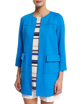 Milano Knit 3/4-Sleeve Raglan Topper Coat, Cyan