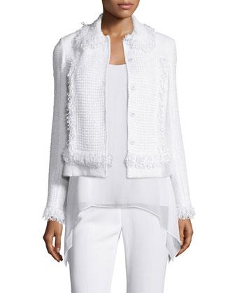 Zimmari Fringe Bracelet-Sleeve Jacket, Bianco