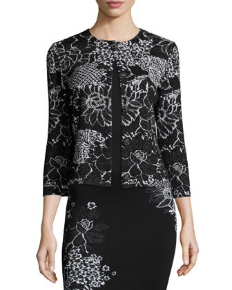 Placed Wildflower Jacquard Sheath Dress & Wildflower Jacquard 3/4-Sleeve ...