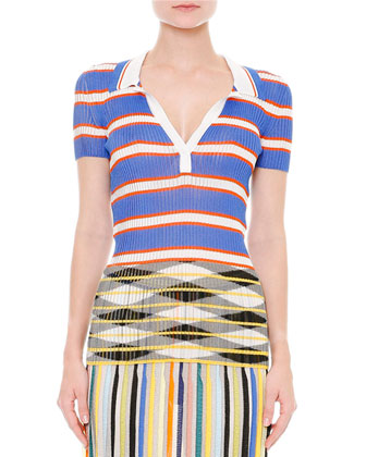 Short-Sleeve Horizontal-Striped Polo, Blue/White/Orange