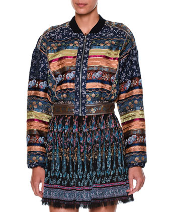 Long-Sleeve Ribbon Bomber Jacket, Blue/Multi