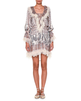 Long-Sleeve Printed Dress W/Lace Trim, White/Multi