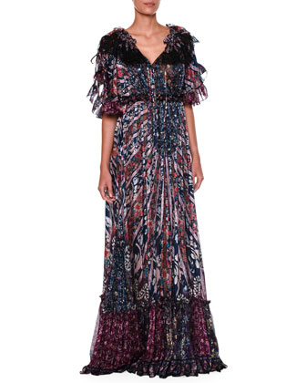 Off-The-Shoulder 3/4-Sleeve Printed Gown, Blue/Multi
