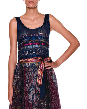 Sleeveless Scoop-Neck Ribbon Top, Blue/Multi