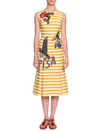 Pisa Sleeveless Striped Dress W/Appliques, Open Gold