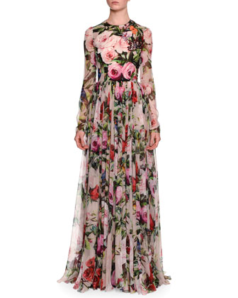 Long-Sleeve Rose-Print Gown, Pale Pink/Multi