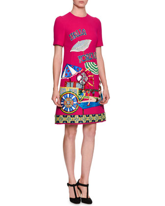 Italia Forever Applique Dress, Bright Pink