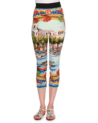 Sorrento High-Waist Capri Pants, Yellow/Blue/Multi