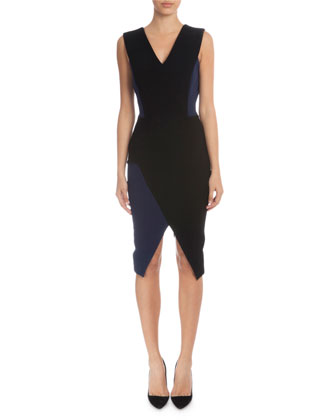 Sleeveless V-Neck Sheath Dress, Black/Navy