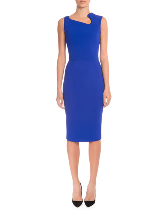 Sleeveless Asymmetric-Neck Sheath Dress, Cobalt