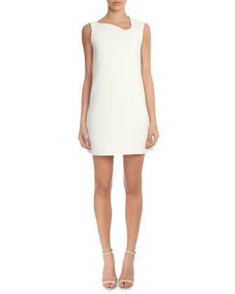 Sleeveless Asymmetric-Neck Sheath Mini Dress, White