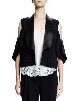 Cold-Shoulder One-Button Jacket, Black