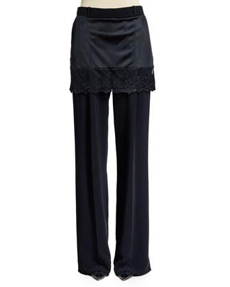 Lace-Trim Skirt Pants, Black