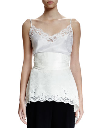 Small Weave Lace-Trim Camisole, Ivory