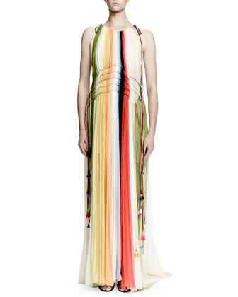 Halter-Neck Ombre Gown, Multi Colors