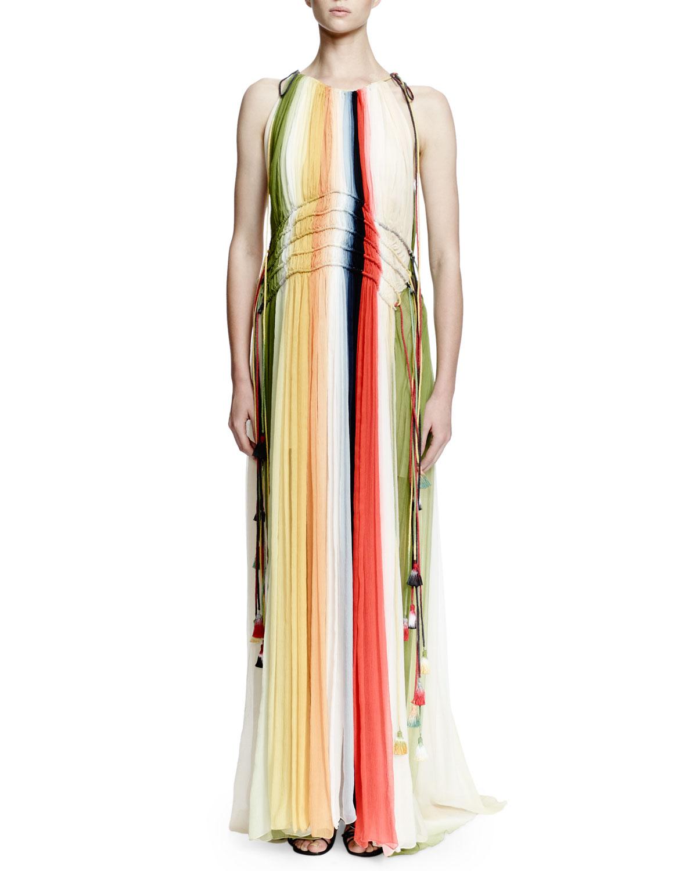 Halter-Neck Ombre Gown, Multi Colors, Size: 10 - Chloe