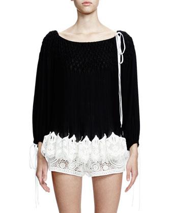 Long-Sleeve Smocked Top W/Lace Hem, Black/White