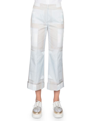Flare-Leg Cropped Pants, Blue