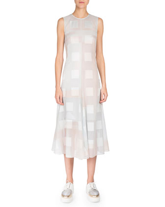 Sleeveless Jewel-Neck Midi Dress W/Slip, Blue